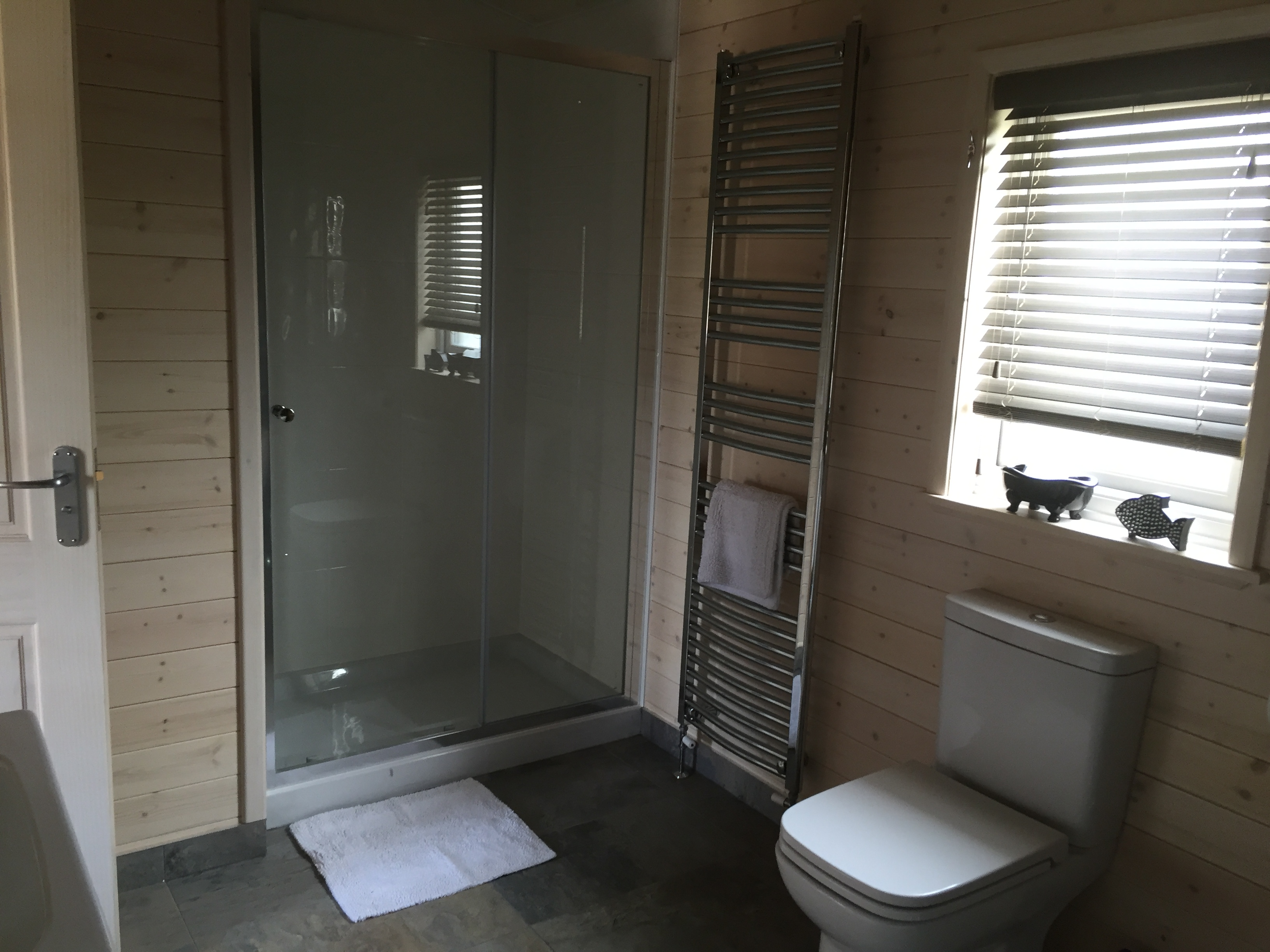 Large shower with rain forest shower head
